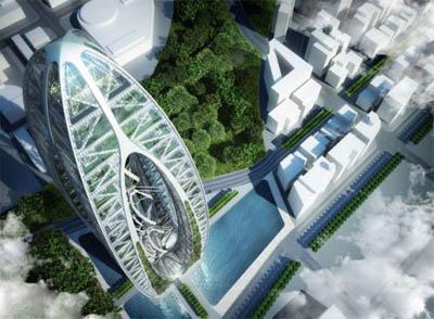 Зеленое строительство из водорослей: энергонезависимый небоскреб Bionic Arch от FSMA Tower в Лондоне