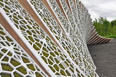 Эко-инсталяция в Квебеке. Садовая футуристическая стена