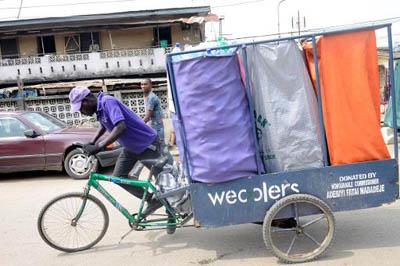 Программа утилизации на велосипедах в Лагосе